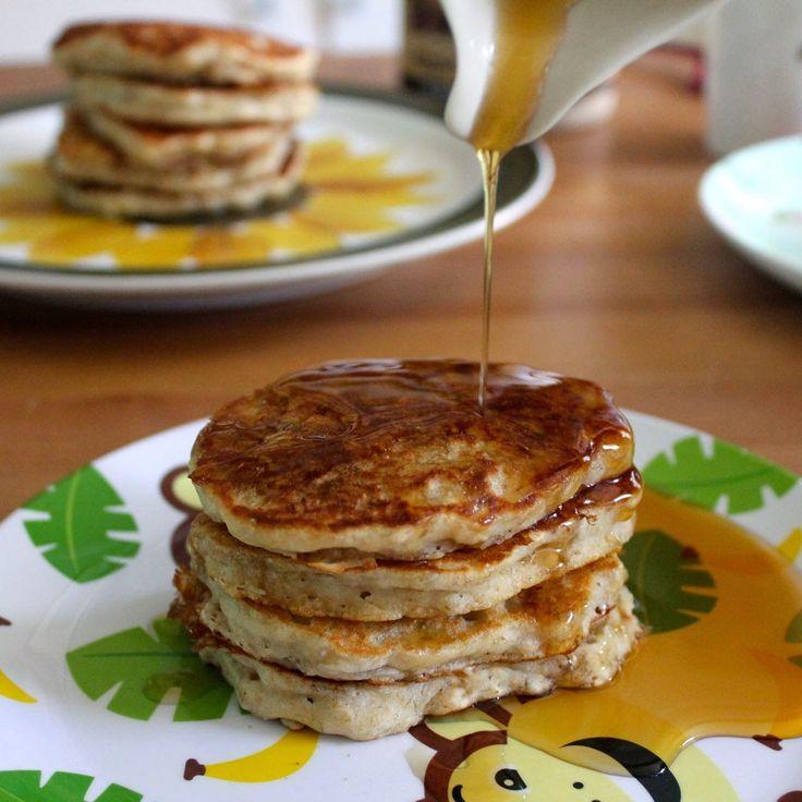 Green Gourmet Giraffe: Banana Oat Pancakes revisited and veganised