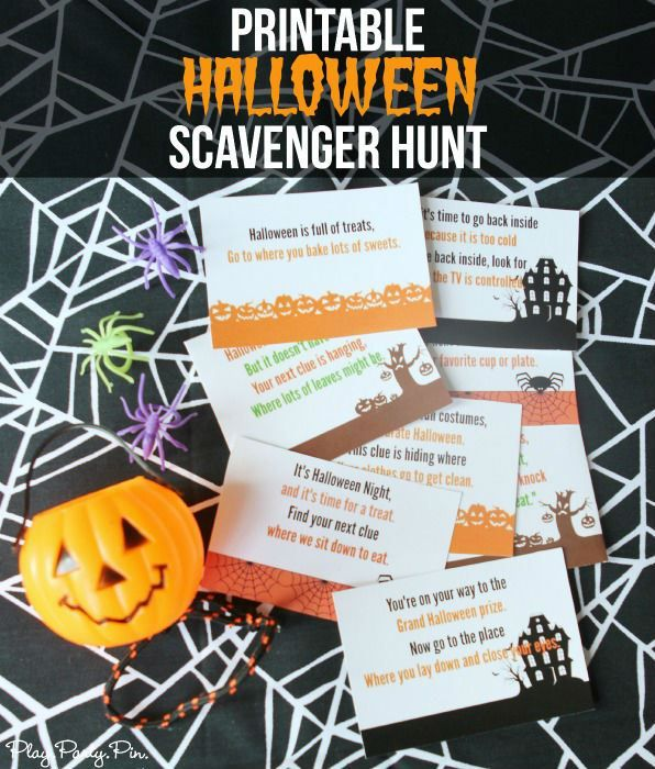 Free printable Halloween scavenger hunt for kids perfect for a fun surprise on Halloween