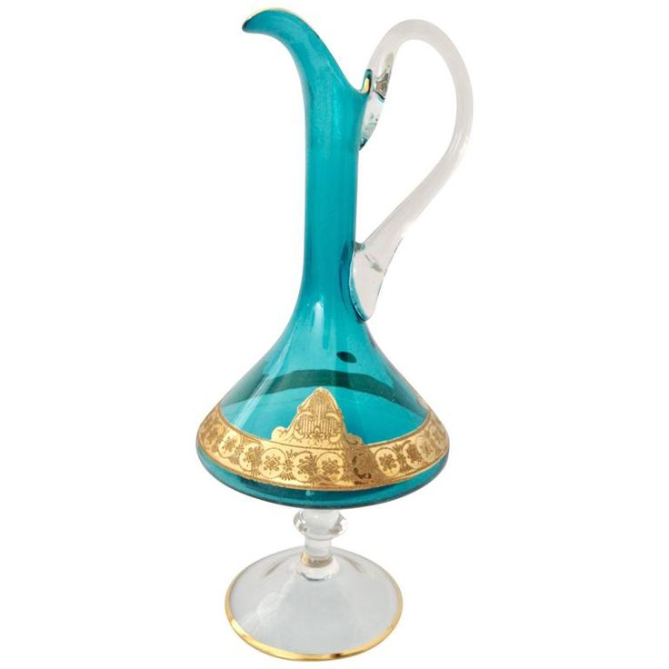 Italian Venetian Mediterranean Blue 22-Karat Gold Footed Pitcher | From a unique collection of antique and modern glass at https://www.1stdibs.com/furniture/dining-entertaining/glass/