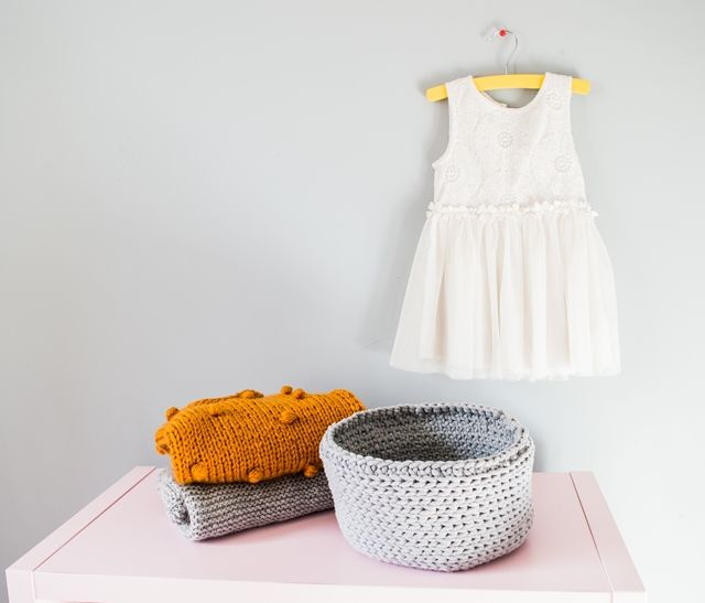 Neutral grey color crocheted basket made from 5mm cotton cord.  Perfectly for storing your little things,beautiful and functional.
