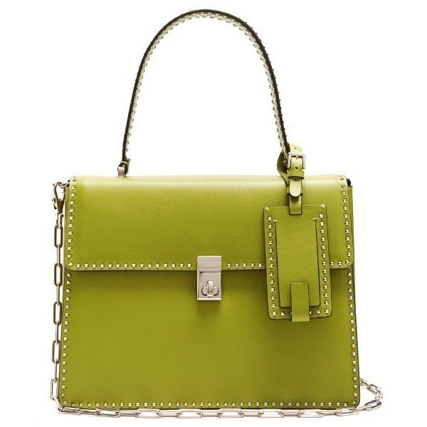 Valentino Stud Stitching leather tote ($2,995) ❤ liked on Polyvore featuring bags, handbags, tote bags, green, over the shoulder purse, leather purses, green tote bag, leather tote and leather tote handbags