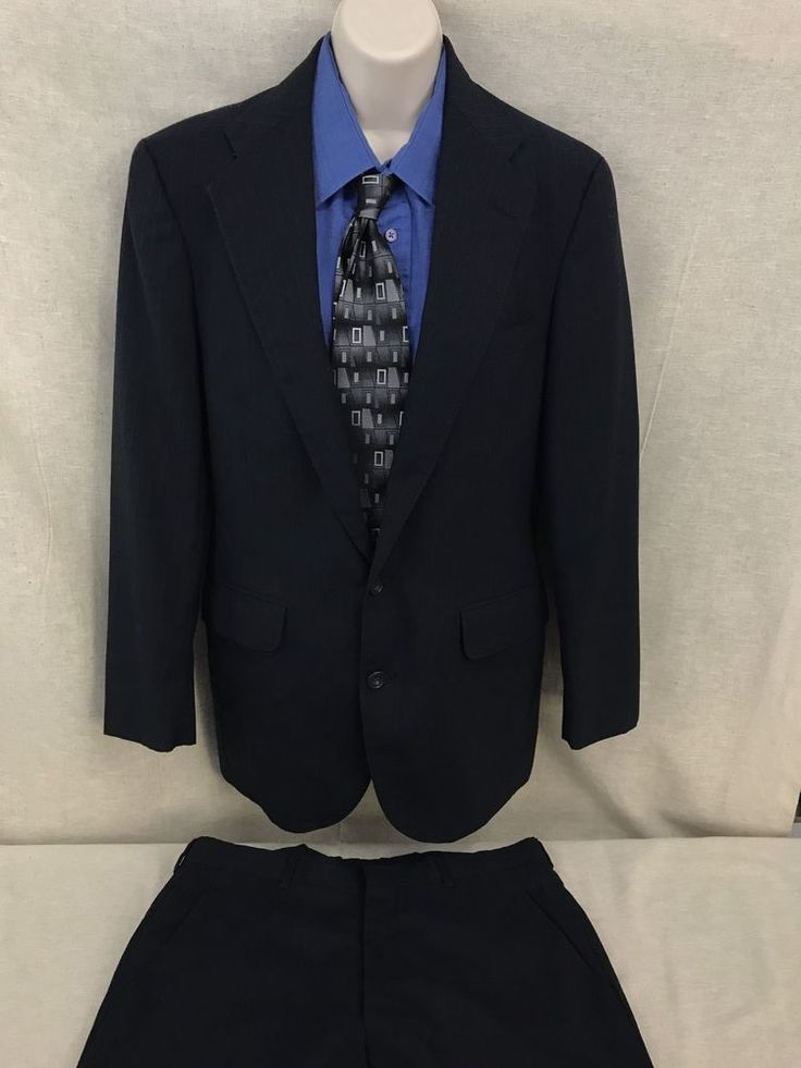 Deansgate Navy Blue Pinstripe Suit 40R 2 Button 34x31 Flat Front Pants U S Made #Deansgate #TwoButton