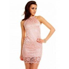 Vestido de Encaje Rosa Palo Online MS808