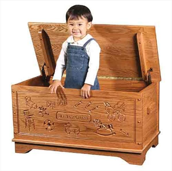 Wood toy box chest amish for girls carved oak