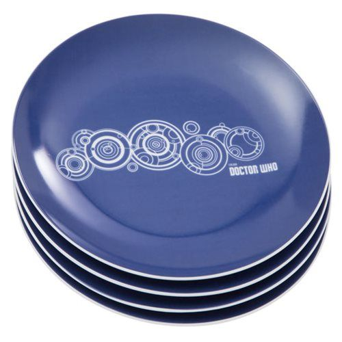 This Doctor Who 8-Inch Ceramic Plate 4-Pack Set makes your meals all timey-wimey. It will please even the most discriminating Doctor Who fans!  It is a set that is perfect for everyday dining, fandom events, and gift giving. Each of the 8-inch diameter bowls in this set features a Galifreyan desig