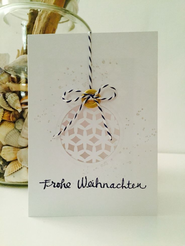 nordic christmas card white and dark blue with cut out by Josefin Mente