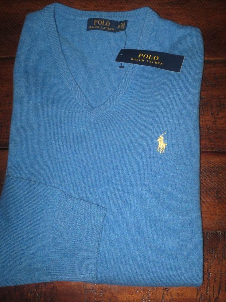 POLO Ralph Lauren 3 classic fit v-neck blue t-shirt Men/'s S SMALL M MEDIUM $39.5