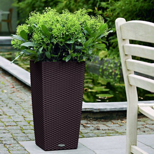 Square Lechuza Cubico Cottage Self Watering Resin Planter   Garden Planters  At Hayneedle