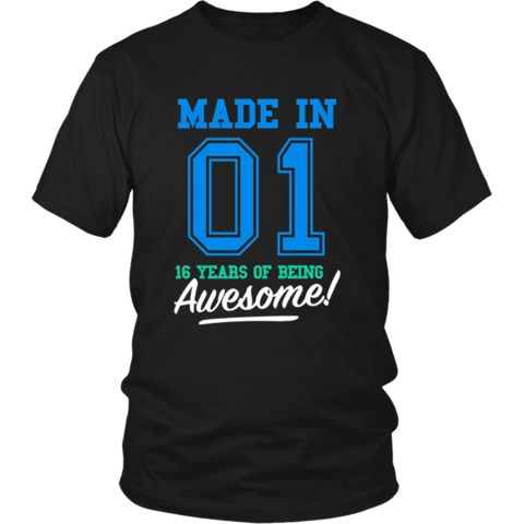 Made In 2001 Awesome 16th Birthday Boy Shirt Blue T-shirt