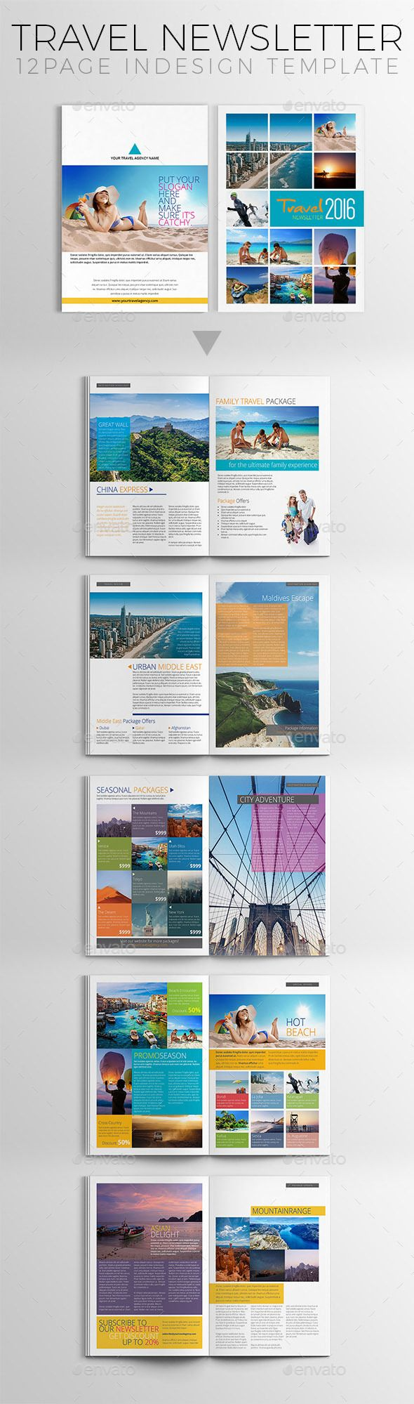 Travel Newsletter Template - #Newsletters Print #Templates Download here: https://graphicriver.net/item/travel-newsletter-template/18608068?ref=alena994