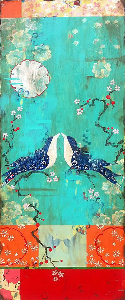 Kathe Fraga Art, www.kathefraga.com Kathe's paintings are inspired by the romance of vintage French wallpapers and Chinoiserie with a modern twist. 40x16 on frescoed panel.