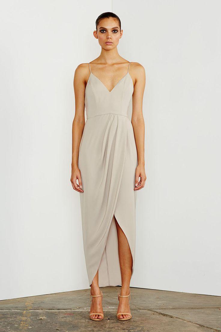 Shona Joy - Core Cocktail Drape Dress In Oyster