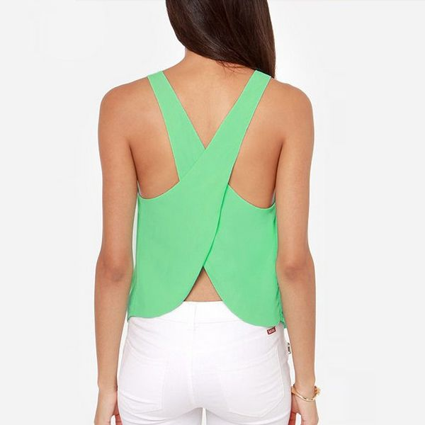 Zanzea Summer Fashion 2015 Women Tank Solid Color Ladies Tops Sexy Sleeveless Backless Strap Tank Tops 5 Color 5 Sizes