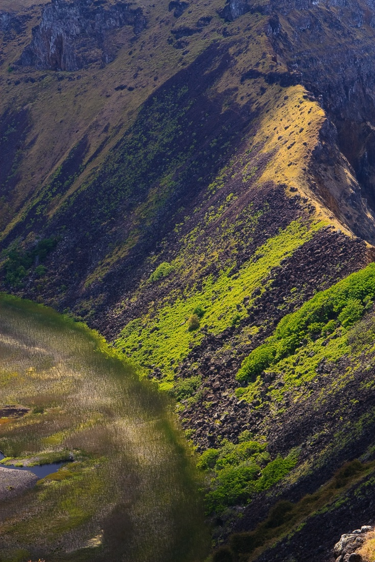 Inside the crater of Rano Kau volcano, Easter Island