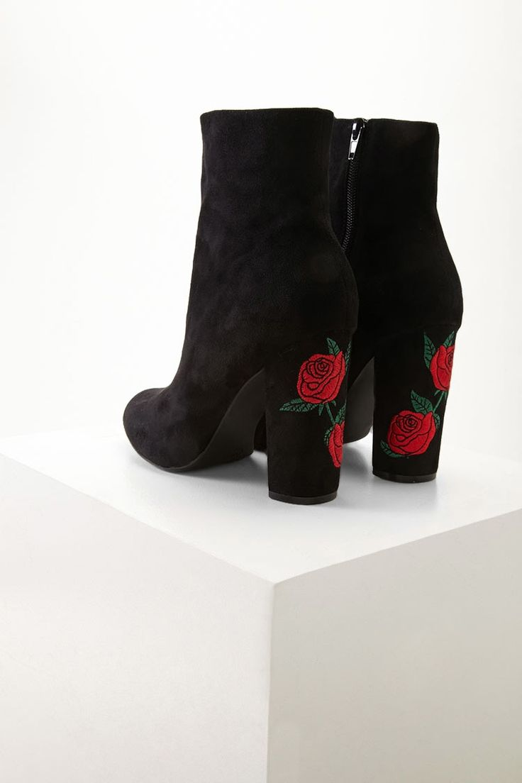A pair of faux suede ankle boots featuring a block heel with rose embroidery, a side zipper, and a semi-round toe. This is an independent brand and not a Forever 21 branded item.