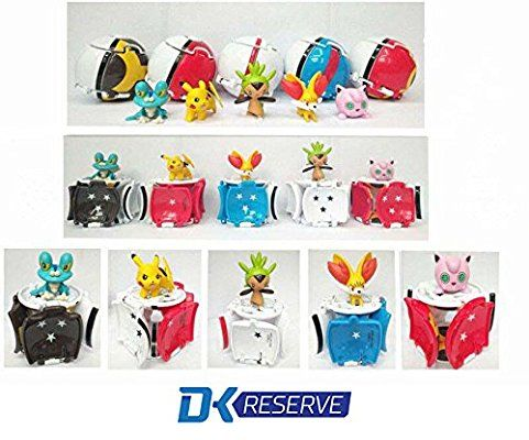 DK Reserve Toys Pop N' Play Pokemon Ball with Random Pokemon Figurine, 5 Piece Lot|Real Pokeballs That Pop Open & Release Pokemon Action Figure