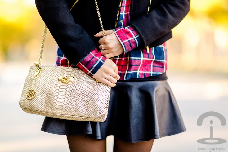 Grunge Chic Crimenes de la Moda - bolso DKNY bag - falda de cuero Chicwish leather skirt - camisa de cuadros Choies tartan shirt