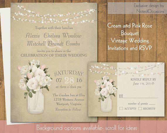 Mason Jar Cream Roses Rustic Wedding Invitation - Cream and Blush Pink Roses | Barn Rustic Wedding Invitations Woodgrain Digital Printable  by NotedOccasions