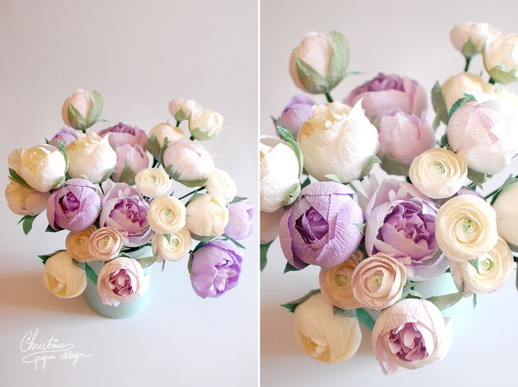 Amazin paper flowers - white and lilac paper peonies.