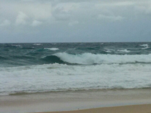 Winter storm waves at Redhead Beach