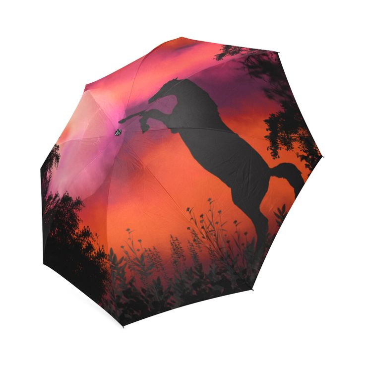 Fire sky horse Foldable Umbrella by Tracey Lee Art Designs