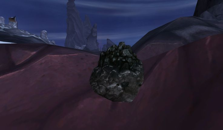 Blackrock Ore, the new base ore in Warlords of Draenor, the World of Warcraft expansion. From the alpha server.