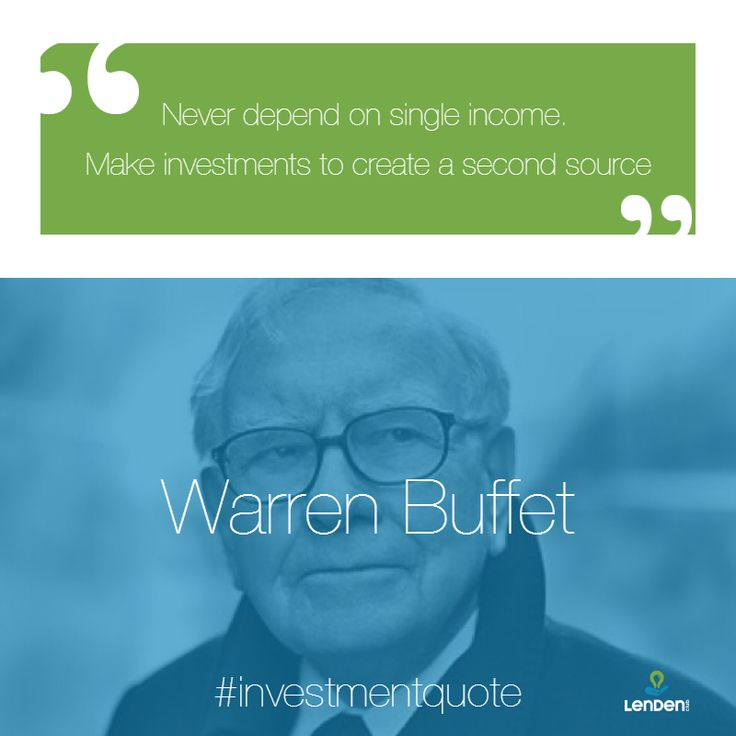 """""""Never depend on single income. Make investments to create a second source"""" - Warren Buffet  Follow us for more amazing investment tips like this one as well as inspirational quotes and much more!  We're LenDenClub, India's most elite Peer-To-Peer lending platform.  To know more, check us out at www.lendenclub.com #warrenbuffet #warren #buffet #warrenbuffetquotes #p2plending #investment #peertopeerlending"""