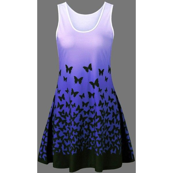 Butterfly Print Ombre Casual A Line Tank Dress ($20) ❤ liked on Polyvore featuring dresses, purple, tank top dress, moth dress, plus size butterfly dress, ombre dresses and plus size dresses