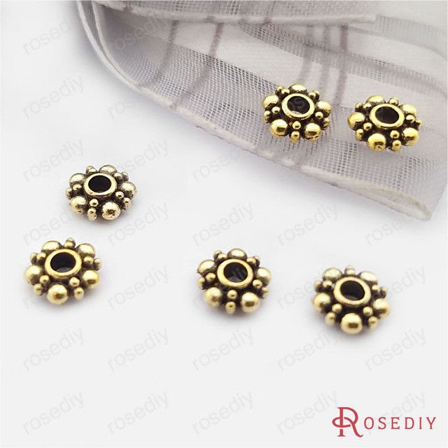 (26978)100PCS 6MM Antique Silver Plated Zinc Alloy Snowflake Beads Spacer Beads Diy Handmade Jewelry Findings Accessories