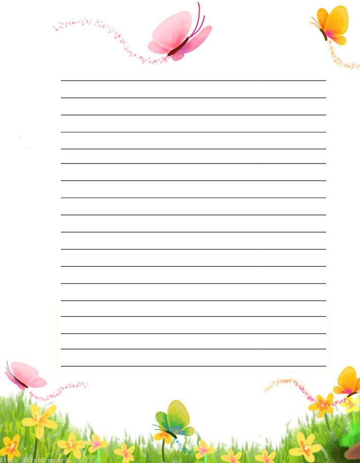 butterflies free printable stationery for kids, primary lined butterflies theme free printable kids writing paper