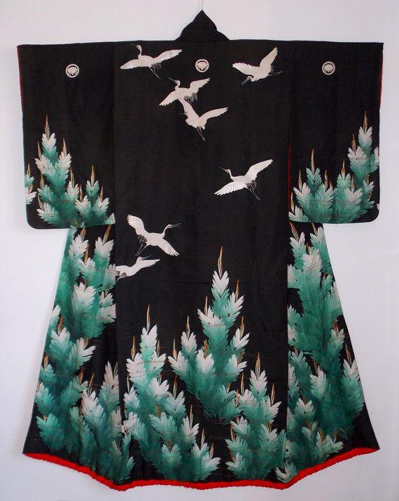 Japan, Edo Era Uchikake, flying cranes and pine trees, yuzen silk