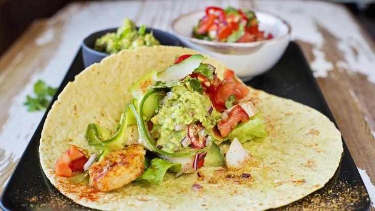Torsketaco med guacamole og salsa