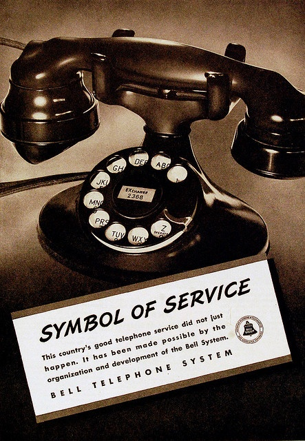Symbol of Service, Bell Telephone, 1937.       ~ I have a phone exactly like this.  And it still works!  ~ Libby