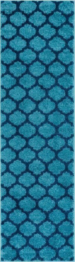 Zoe Light Blue Modern Trellis Rug - Well Woven
