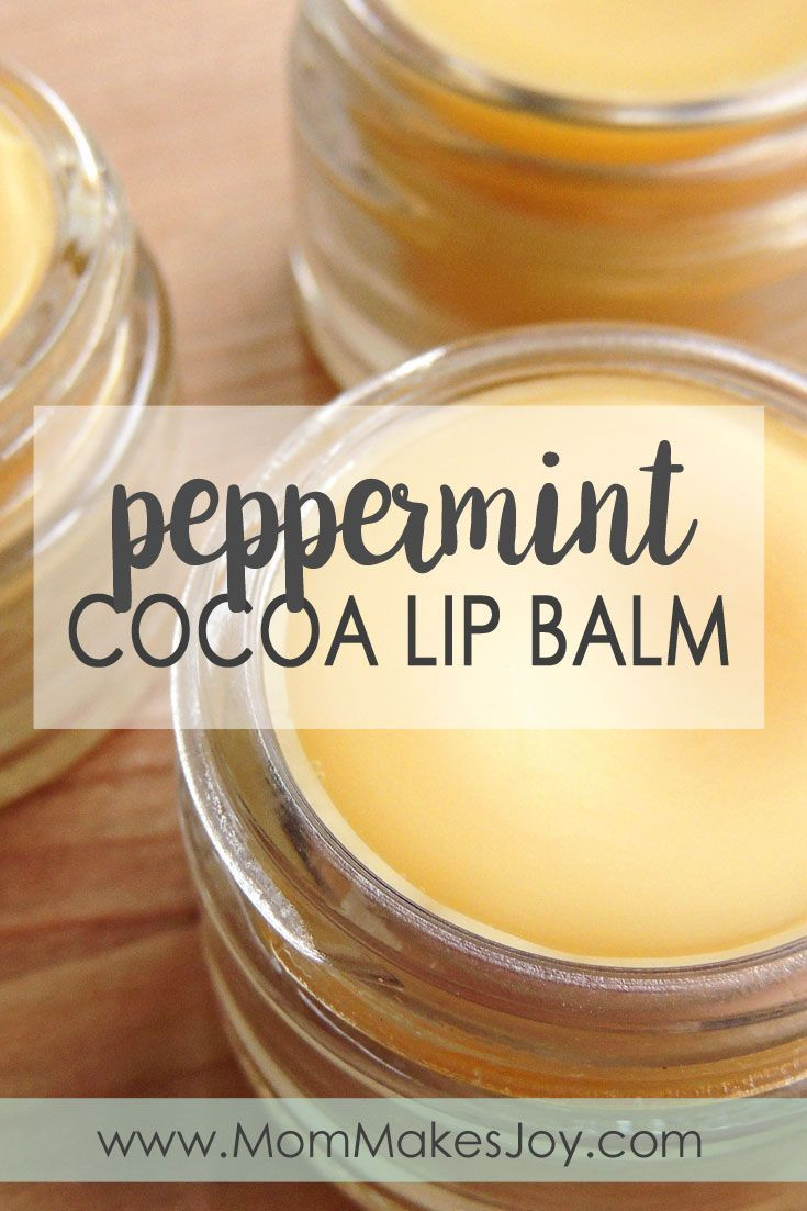Learn how to make your own affordable, all natural peppermint cocoa lip balm using peppermint essential oil, coconut oil, cocoa butter, and beeswax.   DIY Bath and Body   Homemade Lip Balm   How to make lip balm   Mom Makes Joy
