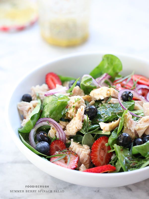 Summer Berry Spinach Salad | via FoodieCrush