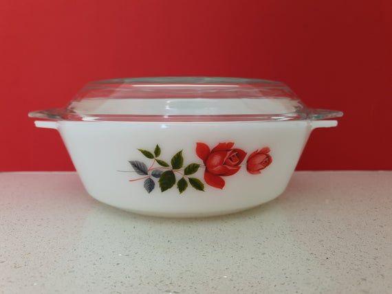 pastel set of 3 with lits Casserole Dish bowl with lit pink Vintage JAJ Pyrex bowl Rosehip