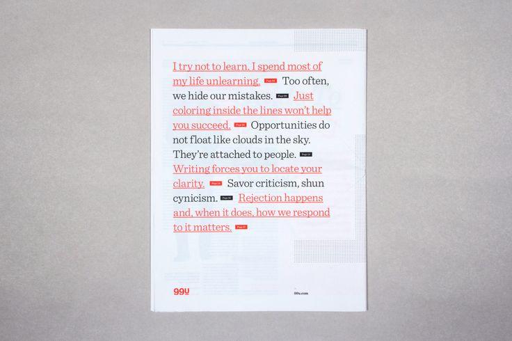 Editorial Design Inspiration: 99U Magazine, rubrikker sat sammen til et digt