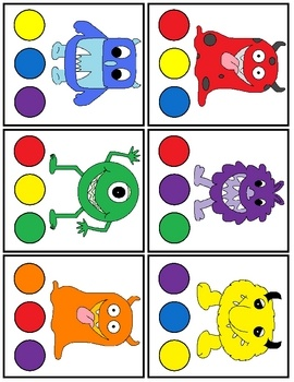 Print and laminate the monster cards. Set 1: Use a clothespin to select the matching colored circle Set 2: Use a dry erase marker to trace the col...
