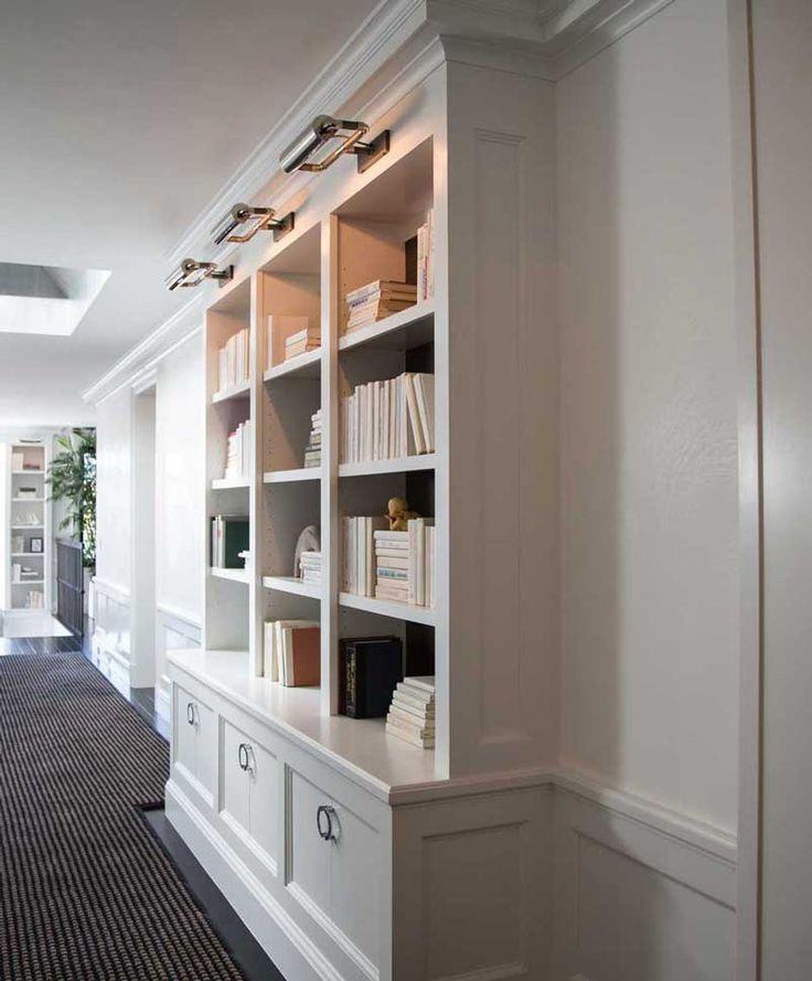 Built-in bookcase in hallway