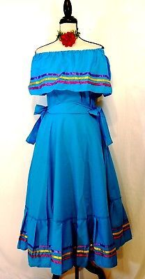 Blue Dress Mexico Bailable 5 Mayo Wedding Adelita Folkloric On/Off Shoulder NWT