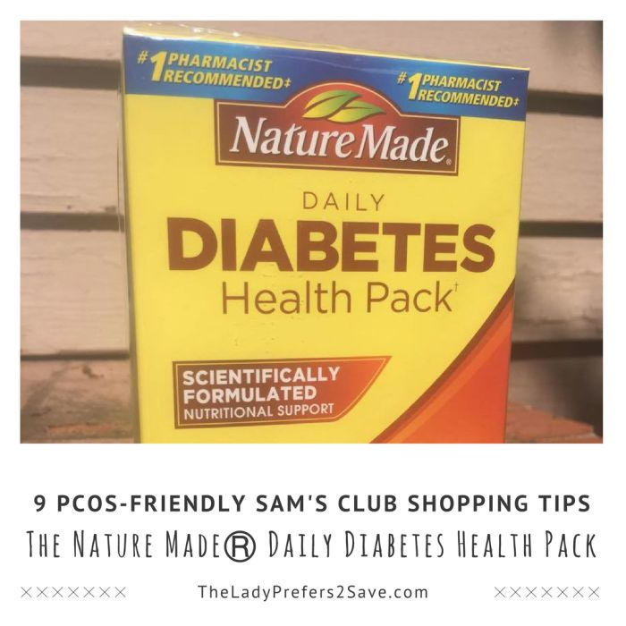 9 PCOS-Friendly Sam's Club Shopping Tips featuring the Nature MadeⓇ Daily Diabetes Health Pack from @samsclub #NatureMadeHealthPack #AD