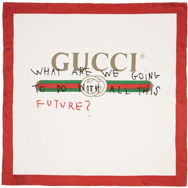 Gucci White & Red Silk 'Future' Logo Scarf (1,445 PEN) ❤ liked on Polyvore featuring accessories, scarves, white, colorful scarves, gucci shawl, colorful shawls, red shawl and white shawl