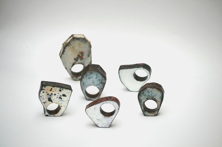 "Natalia Araya - ""Time"" rings - vitreous enamel on copper"