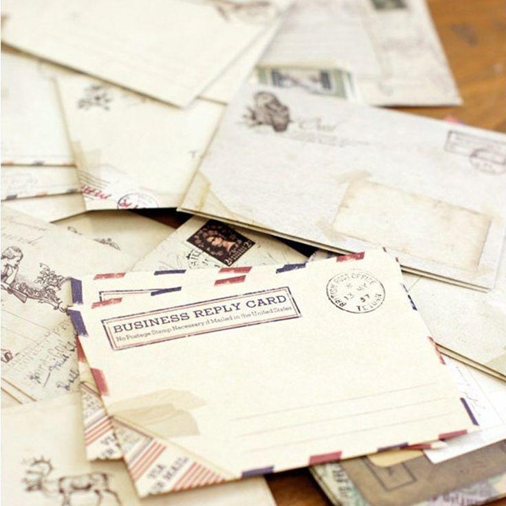 Sobre de papel Antiguo Lindo Mini Sobres Tarjeta Scrapbooking 12 unids/lote Antiguo Estilo Europeo Para El Regalo