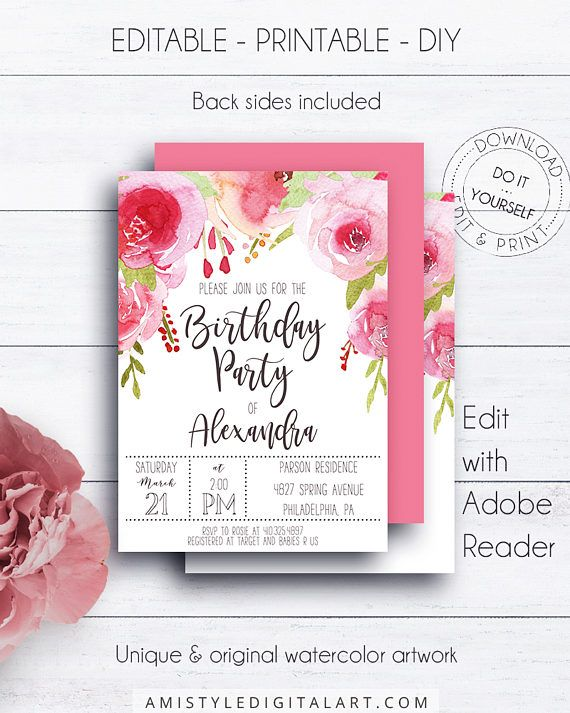 Whimsical Birthday Invitation - with beautiful hand painted watercolor pink roses - in adorable whimsical and romantic styleThis handmade floral printable listing is for an instant download EDITABLE PDF so you can download it right away, DIY edit and print it at home or at your local copy shop by Amistyle Digital Art