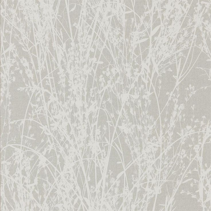Sanderson Meadow Canvas 215694 White/Grey wallpaper from the Woodland Walk collection, priced per roll. Inspired by a French document from the archive which depicts a photographic silhouette of pressed grasses, this modern country wallpaper design is printed using rotary screen methods to add texture and opacity of colour