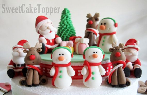 Christmas Fondant Cake Topper Set - Homemade Edible Cake Topper - 1 set