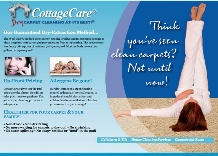 """Dry carpet cleaning is non-toxic, non-irritating, and doesn't require you to waste time waiting for your carpets to dry out! Plus, it doesn't create """"mud"""" deep in the pad of your carpet. Call us to find out more information! 913-469-0220 http://www.cottagecare.com/carpet-cleaning.php#sthash.MS3Zbp7d.fO8SAzJJ.dpbs"""