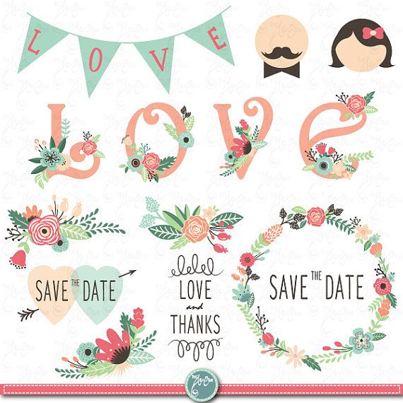 "Wedding Clipart pack ""WEDDING FLORA"" digital clip art,Vintage Flowers,Floral Frames,Wreath,Wedding invitation,Instant Download Wd005"